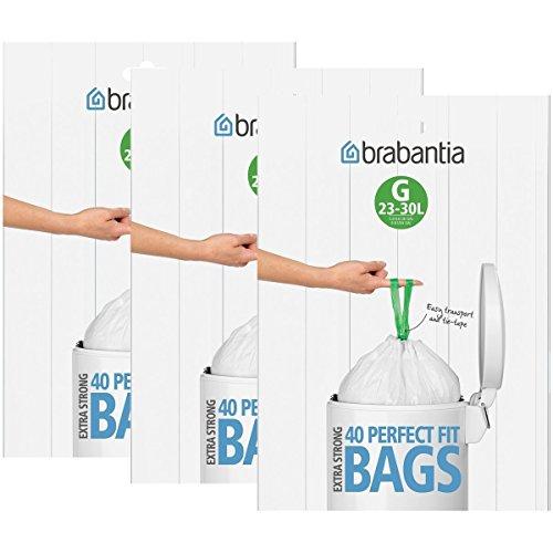 Brabantia - Lote de bolsas de basura (3 cajas de 40 unidades, tipo G, 30 L)
