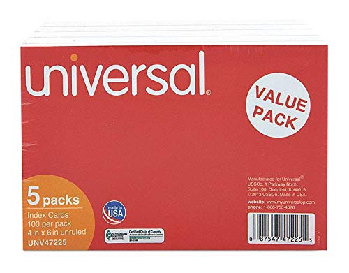 4'' x 6'' Index Cards, Unruled