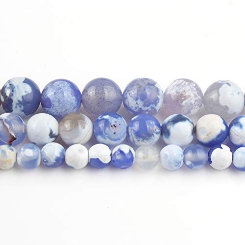 Yochus 10mm Blue Cracked Fire Agates Round Loose Beads Natural Stone Beads For Jewelry Making