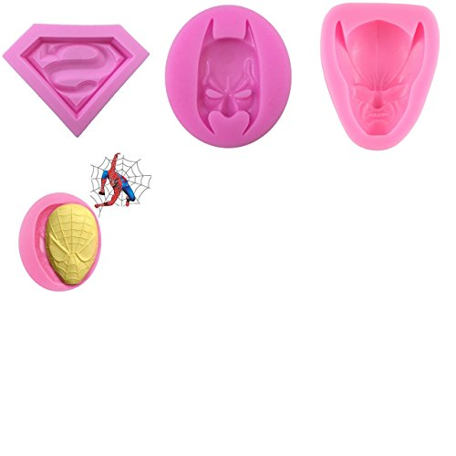 Set of four (4) 3D Silicone Molds in Superman Logo Wolverine Spiderman Face and Batman Face For Sugarcraft, Fondant, Chocolate, Gum Paste, Marzipan or Craft Clays For Cake or Cupcake (Face Gum)