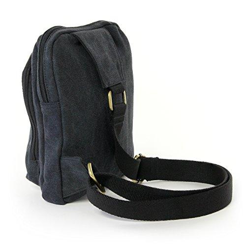 Bodybag Umhängetasche Canvas schwarz Crossover Freizeit Schultertasche Manoro® Vintage and Vogue OTK213S