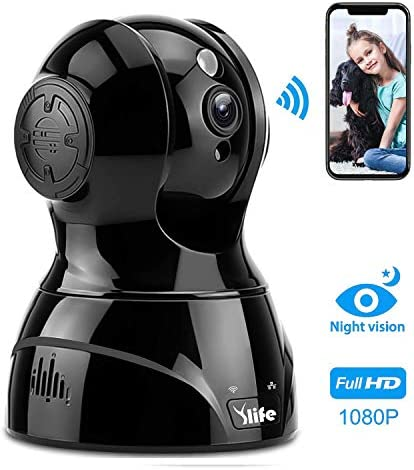 Ylife Baby Pet Monitor Camera, 1080P HD WiFi Home Security Camera with 2 Way Audio Indoor, Wireless IP Surveillance Camera-Night Vision,Motion Detection, Compatible with Alexa-Black