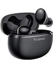 Fone de ouvido Bluetooth sem fio Tranya T20, som premium com graves profundos, tempo de reprodução 8H, design de 4 microfones para chamadas, modo de jogo de baixa latência, IPX7 à prova d'água