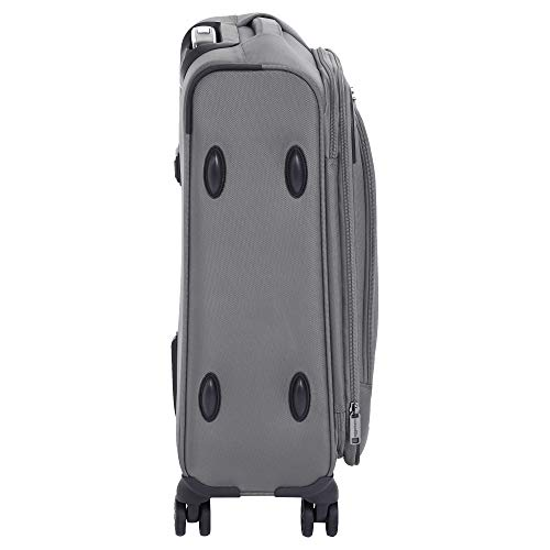 AmazonBasics Premium Expandable Softside Spinner Luggage With TSA Lock- 21 Inch, Grey
