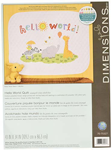 - Dimensions Stamped Cross Stitch Kit 'Hello World' Safari Animal DIY Baby Quilt, 43'' x 34''