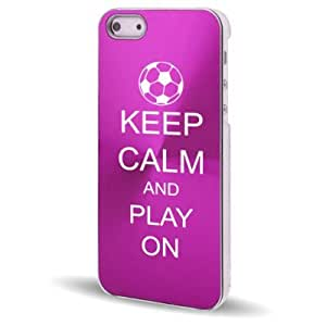 Apple iPhone 5 5S Hot Pink 5C348 Aluminum Plated Hard Back Case Cover Keep Calm and Play On Soccer