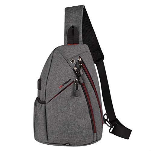 Sports Men Mens 1 Sling Backpack Breathable Lightweight Chest Bag Leather Tactical Shoulder Bags Packs Day Pack Daypack Cross Body Crossbody for Women Men Teens Waterproof Hiking Travel Bag USB Gray