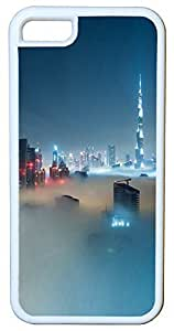 Generic Dubai Skyline Covered In Fog Cell Phone Case for iPhone 5C Rubber White