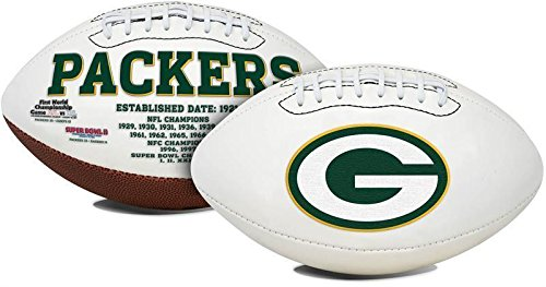 (Green Bay Packers Embroidered Logo Signature Series Full Size Football - with Super Bowl I,II, XXXI & XLV Logo's on ball - New in Box)