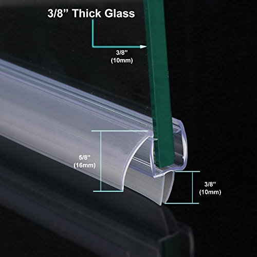 SUNNY SHOWER A309D5 Fit Frameless Glass Shower Door Bottom Seal Sweep Drip Rail Clear Plastic, Precut, 36