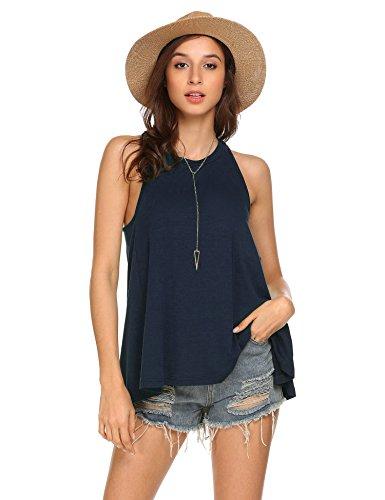 Pinspark Women's Summer Sleeveless Shirt Loose Fit Racerback Tunic Tank Tops Navy Blue Medium by Pinspark (Image #1)