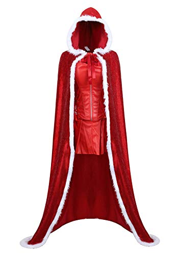 Women's Mrs. Claus Costume Set Santa Christmas Outfits Dress for Adult with Hooded Cape ()