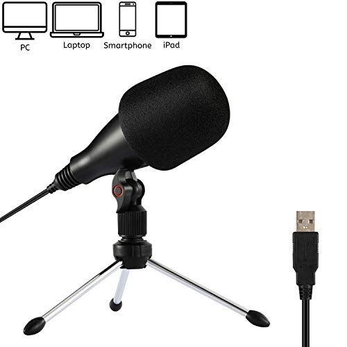 Moukey USB Computer Microphone,Plug&Play,Cardioid Condenser PC Mic with Tripod Stand Pefect for Podcast, YouTube, Studio, Streaming, Gaming (Windows/Mac) -Mum-1