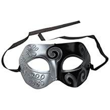 SODIAL(R) Mens Adult Masquerade Greek Roman Facial Mask for Fancy Dress Masked Ball Silver