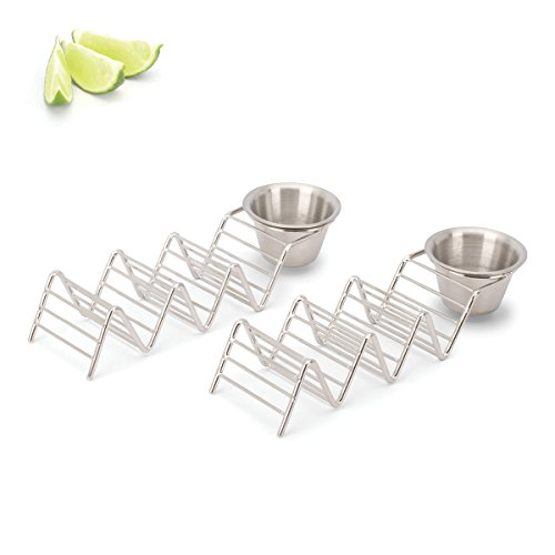 2 Lb. Depot Taco Shell Holder, Stainless Steel Taco Rack Hard Soft Taco's, 2 Pack (Holds 3 Tacos with Cup) by 2 Lb. Depot (Image #1)