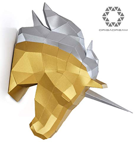 DIY 3D UNICORN HEAD PAPERCRAFT precut kit, decorative wall sculpture to build for Adult and Teens, -