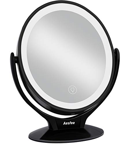 Double Sided LED Makeup Mirror with Lights, Lighted Makeup Vanity Mirror 1x/7x Magnification 360 Degree Free Rotation with Touch Screen Dimming,Portable USB Chargeable Travel Magnifying Mirror (Black)