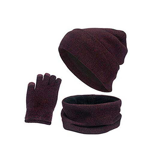 Quaanti Winter Beanie Hat + Scarf + Gloves Knit Skull Cap Scarves Touch Screen Mittens for Men Women 3 PCS Knitted Set (C)