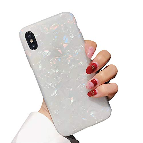 Glitter Pearly-Lustre Translucent Shell Pattern Phone Case for iPhone X, MAYCARI Girls Women Sparkling Shiny Soft TPU Silicone Back Cover Cute Slim Fit Full Protection Cover (Colorful)