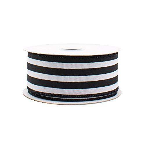 Black White Striped Satin Ribbon - 1 1/2