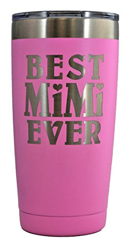 MIMI GIFT – Engraved BEST MIMI EVER Stainless Steel Tumbler 20 oz Premium Quality Vacuum Insulated Large Travel Coffee Mug Hot & Cold Drinks Grandma Mother's Day Christmas Birthday (Pastel - Pink Mimi
