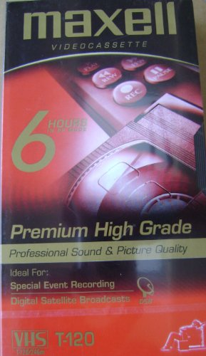 Maxell T-120 Premium High Grade Video Cassette Tape - 6 Hours in EP Mode - Profession Sound and Picture Quality - Ideal for Special Event Recording and Digital Satellite Broadcasts