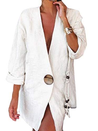 - Zantt Women Solid Color Long Sleeve Classic One Button Linen Blazer Jackets White XL