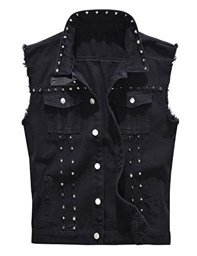 HUPOO Men's Black Slim Lapel Studded Rivets Frayed Denim Jean Vests Waistcoats (Black, Medium)