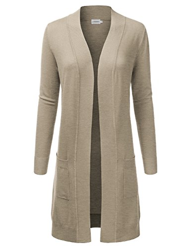 JJ Perfection Womens Light Weight Long Sleeve Open Front Long Cardigan Camel M -