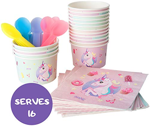 Unicorn Rainbow Theme Ice Cream Cups, Napkins & Color Changing Spoons Set | Serves 16 | Birthday Party Supplies | Disposable Paper Dessert Bowls 12 oz | Sundae, Frozen Yogurt, Fruit Salad
