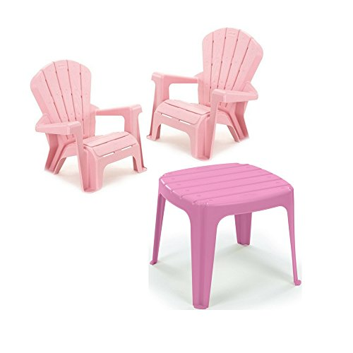 Kids or Toddlers Furniture,Use For Indoor,Outdoor, Inside Home,The Garden Lawn,Patio,Beach,Bedroom Versatile and Comfortable (2 Pink Chairs with Table) (Plastic Garden Table And Chairs Cheap)