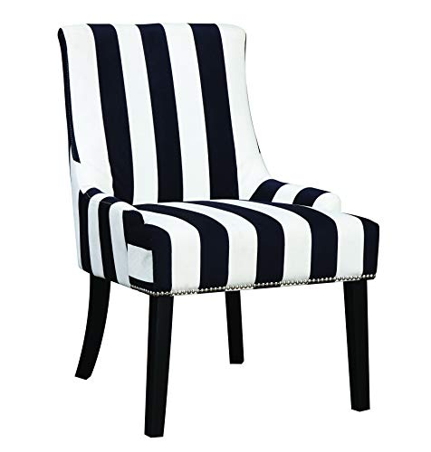 Upholstered Stripe - Armless Upholstered Chair Navy and White