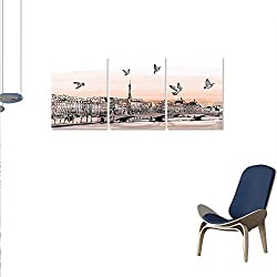 Landscape Wall Art Canvas Prints Panorama Sketch Art Sunset View Paris from Pont Des Arts Pigeons River Ready to Hang Home Decorations Wall Decor 24x48x3pcs Peach Grey