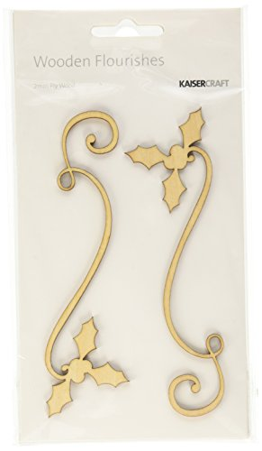 Kaisercraft FL468 Laser Cut Wood Flourish, Holly Ribbon, ()