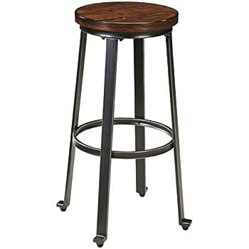 Ashley Furniture Signature Design - Challiman Bar Stool - Pub Height - Set of 2 - Rustic Brown