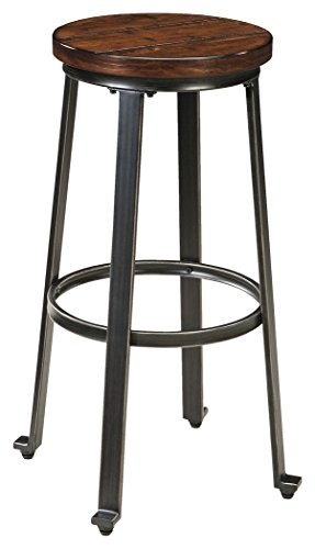 Ashley Furniture Signature Design - Challiman Bar Stool - Pub Height - Set of 2 - Rustic Brown (Stool Bar Design Back)