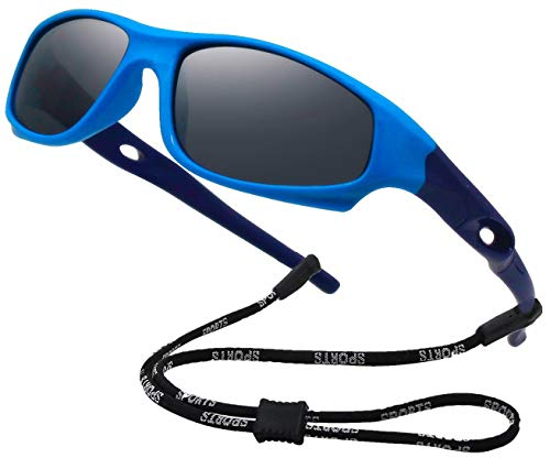 COOLSOME Flexible Rubber Kids Polarized UV Protection Sunglasses with Straps for Boys Girls 2-7 Years Old (Blue II)