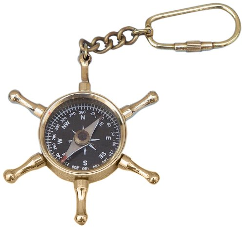(Hampton Nautical  Solid Brass Ship's Wheel Compass Key Chain, Brass)