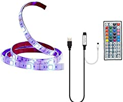 Gluckluz LED Strip Decorative Light Kit, Strips Lights 1M Multicolor Lighting RGB Cuttable with 44 Key Remote Control...