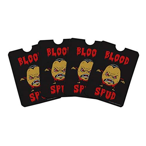 Blood Spud Vampire Potato Funny Humor Credit Card RFID Blocker Holder Protector Wallet Purse Sleeves Set of 4