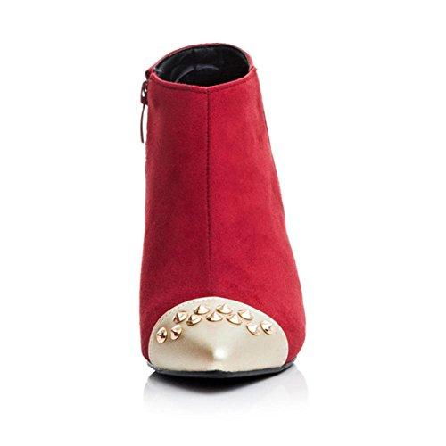 H HQuattro stagioni donne (rosso. Nero) metallo rivetto scarpa attrito dita con stivali di gomma , red , 39