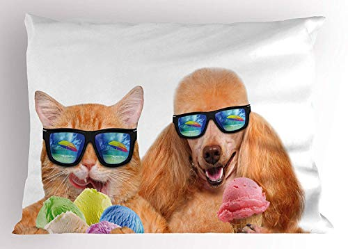 - Emiqlandg Animal Pillow Sham, Cat Dog Pet with Sunglasses Eating Ice Cream Retro Cool Vintage Pop Artwork Image, Decorative Standard Queen Size Printed Pillowcase, 30 X 20 inches, Multicolor