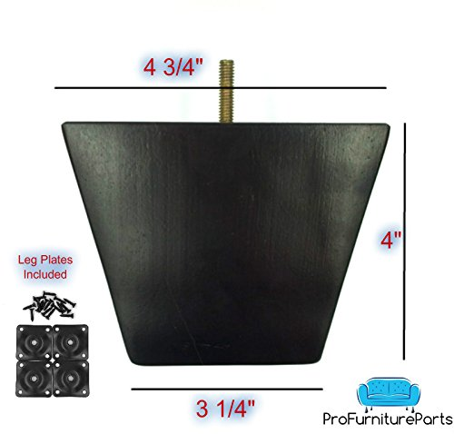 ProFurnitureParts 4'' Inch Espresso Dark Finish Square Tapered Pyramid Wood Sofa Legs and Leg Plates Set of 4 by ProFurnitureParts