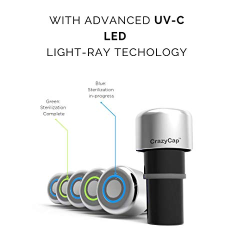 CrazyCap replacement cap with UV-C water filter. UV-C light also keeps the bottle free of germs. Cap fits Mira, Simple Modern, S'well Bottles - Ideal for Travel, Tap Water, Public Fountains. Cap only. ()