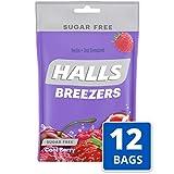 Halls Breezers Cool Berry Sugar Free Throat Drops - 240 Drops (12 bags of 20 drops)