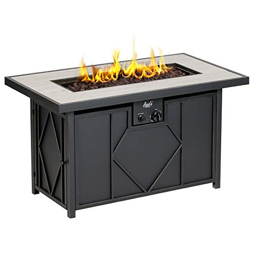BALI OUTDOORS 42 inch 60,000 BTU Propane Gas Fire Pit, Outdoor Patio Rectangular Fire Pits Table, Black (Small Pits Patios Fire With)