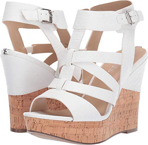 GUESS Women's Henra White 7.5 M - Shoes 4 Inch Wedge