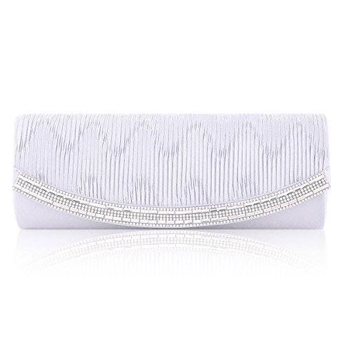 White Rhinestone Pleated Damara Bag Women Wedding Flap Clutch Satin Elegant Uqxazx7w