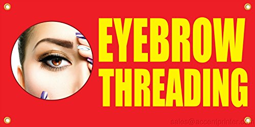 Eyebrow Accent - Eyebrow Threading Vinyl Display Banner with Grommets, 2'hx4'w, Full Color