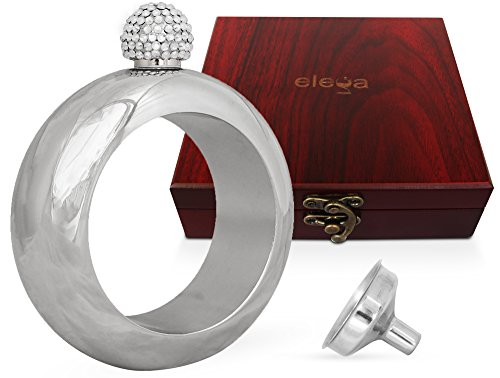 Bracelet Bangle Hidden Liquor Flask w/Luxury Gift Box, Handmade Rhinestone Lid, Funnel, by ELEGA | Silver Polish | Novelty Jewelry gift for Women, Men | Stainless Steel | Alcohol Booze Wine Beer
